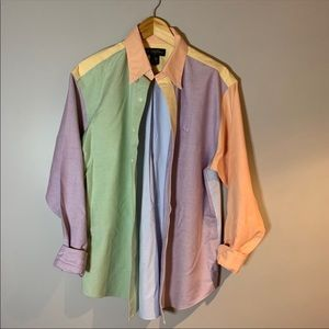 NWOT Brooks Brothers Pastel Colourblock Button Up